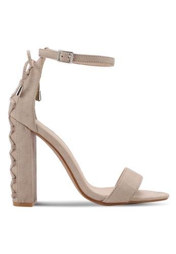 Something Borrowed beige Lace Up Open Toe Heel 9EC17SHA00B322GS_1