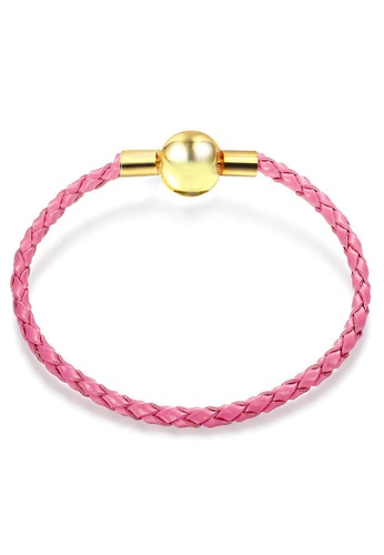 YOUNIQ pink and gold YOUNIQ 16cm Leather Charm Bracelet with Ribbon Gift Box - Gold & Pink 4787AACB2F40F5GS_1