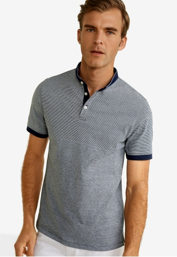 Mango Man 藍色 Mao Collar Cotton Polo 49D2BAA240A76AGS_1