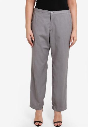 Ex'otico grey Plus Size Basic Long Trousers EX373AA13OBAMY_1