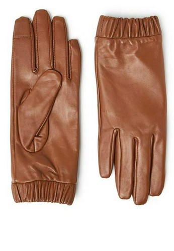 MARKS & SPENCER brown Leather Touchscreen Cuffed Gloves 20593AC75E4391GS_1