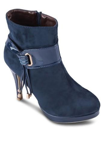 繫帶流蘇扣環高跟短靴, 女鞋, zalora 衣服尺寸靴子