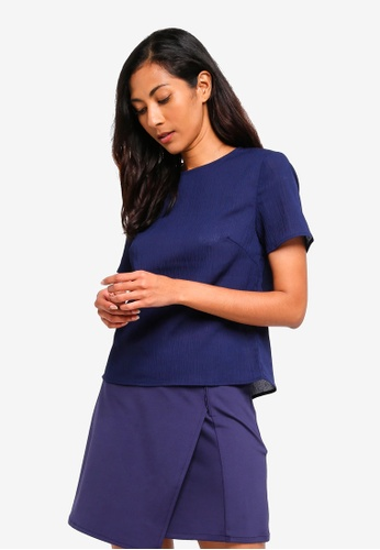 ZALORA BASICS navy Basic Textured Top 39F0DAA8F71B85GS_1