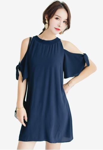 Shopsfashion blue Split Shoulder Mini Dress 79537AA67DDD6BGS_1