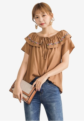 Tokichoi brown Floral Embroidered Off Shoulder Top 643DEAA3A26B2DGS_1