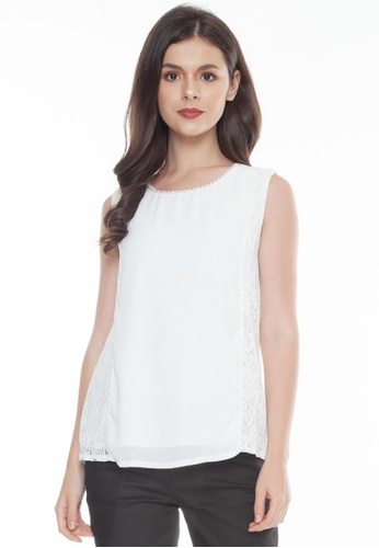Paperdolls white Audrey Sleeveless Top with Pearl and Lace Details EEC32AA1E095F5GS_1