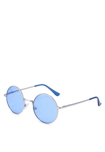 Topman silver Blue Round Lennon Sunglasses 62670GLC4C15D6GS_1