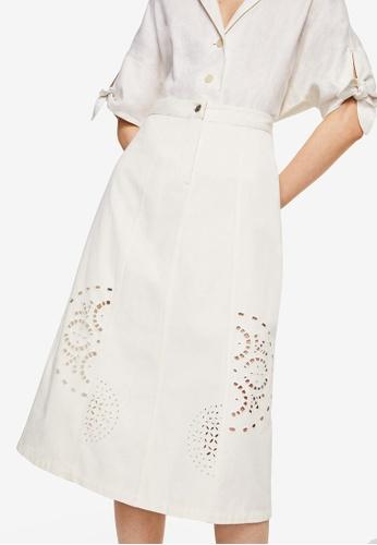 Mango white Die-Cut Details Midi Skirt 4E55FAA8EE2D5CGS_1