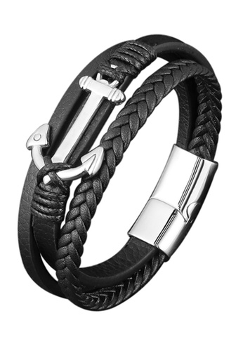 CUFF IT black Black Braided Leather Anchor Stainless Steel Bracelet 24843AC5AA0C10GS_1