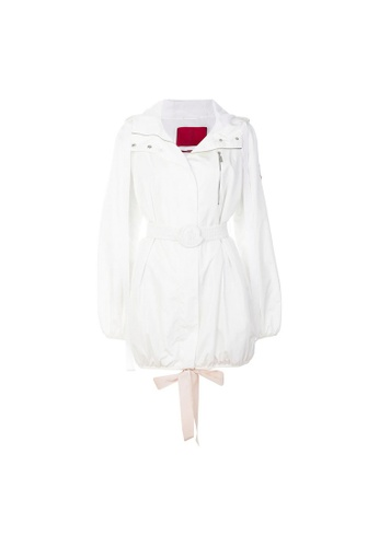 Moncler white Moncler Belted Nylon Hooded Coat in White 1C7D8AA54FB7E5GS_1