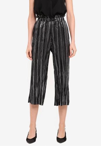 TOPSHOP black Petite Metallic Striped Plisse Trousers TO412AA0SZ6ZMY_1