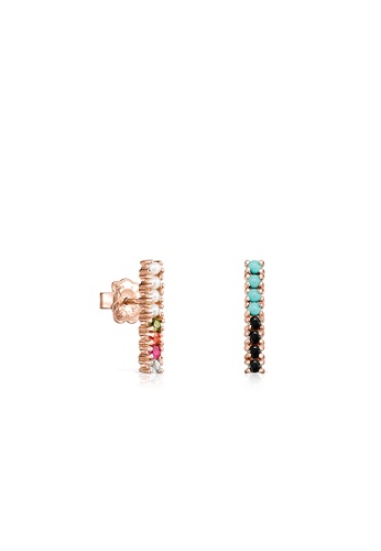 Tous black and white and red and pink and green and blue and gold TOUS Straight Bar Earrings in Rose Gold Vermeil with Gemstones 2BD5EAC2E38EC6GS_1