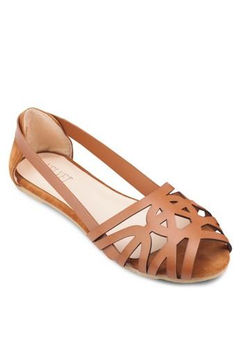 Eveline 鏤空露趾平底鞋, 女鞋,esprit tw 鞋