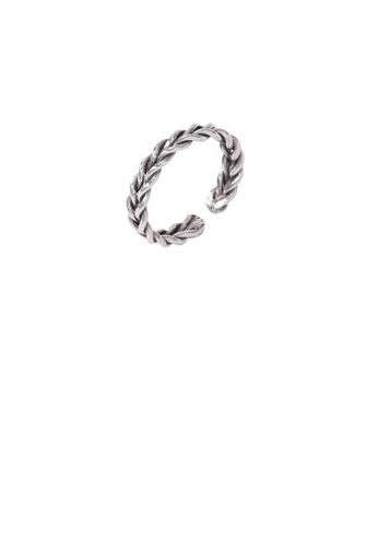 Glamorousky silver 925 Sterling Silver Fashion Simple Twist Geometric Circle Adjustable Open Ring 69A0DAC54B144BGS_1