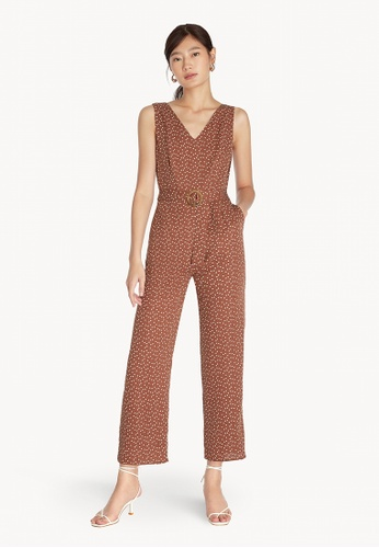 Pomelo brown Heart Print Belted Jumpsuit - Brown 4D9D3AAA6DFB2AGS_1