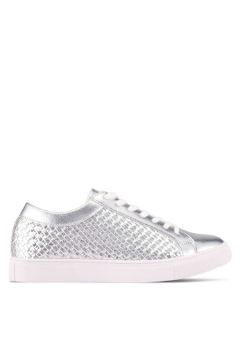 ZALORA 銀色 Weaved Embossed Detail Sneakers 2843ASHA98F293GS_1