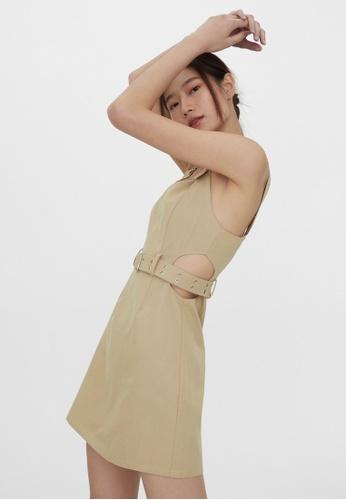 Pomelo beige Belted Cut Out Dress - Beige 12758AAFCEEEF9GS_1