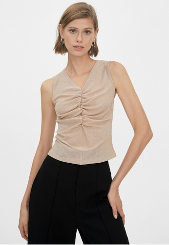 Pomelo beige Ruched Sleeveless Top - Beige 87E9BAA5976548GS_1