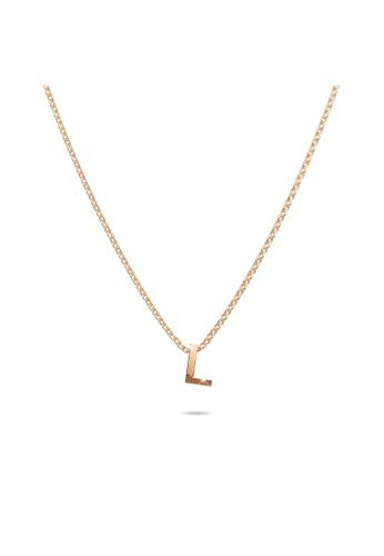Bullion Gold gold BULLION GOLD Initials Brick Alphabet Letter Necklace Rose Gold Layered Steel Jewellery - L 4F5E8AC8737CADGS_1
