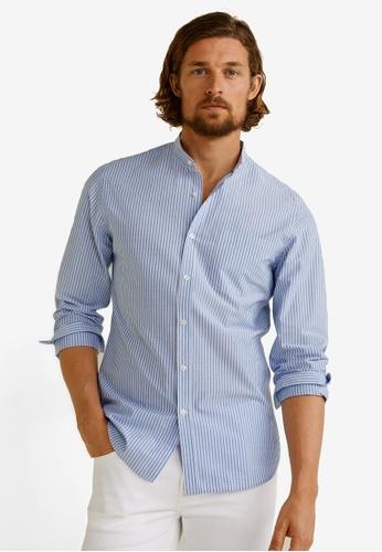 Mango Man 藍色 Striped Mao Collar Shirt CB8A4AAEF3D319GS_1