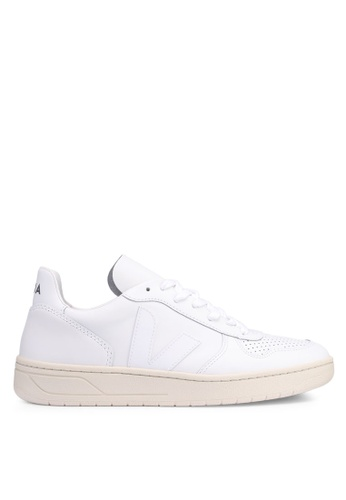 Veja white V-10 Leather Sneakers ED926SHA05A379GS_1