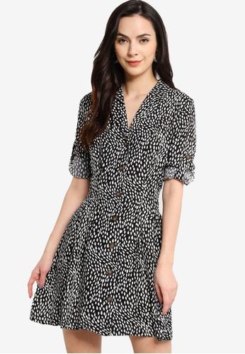 ZALORA WORK multi Button Down Pleat Detail Mini Dress 313E1AAAAE598EGS_1