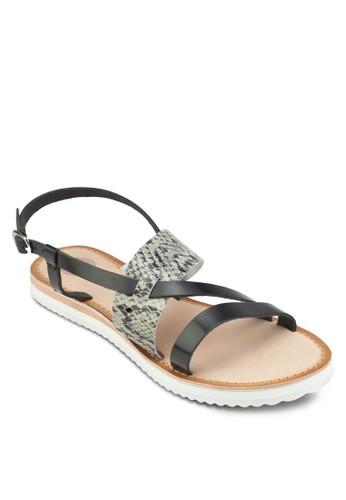Tenace esprit地址蛇紋寬帶涼鞋, 女鞋, 鞋