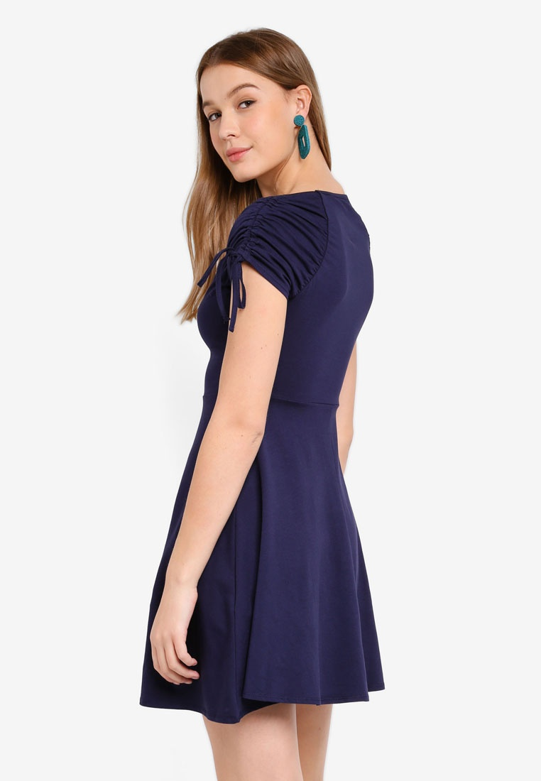 Dorothy Navy Perkins Navy Skater Drawstring Dress Blue AwqxzfUgx