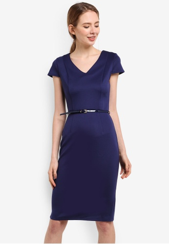 Dorothy Perkins navy Navy Scuba Belted Pencil Dress 3AF07AA8EDFF07GS_1