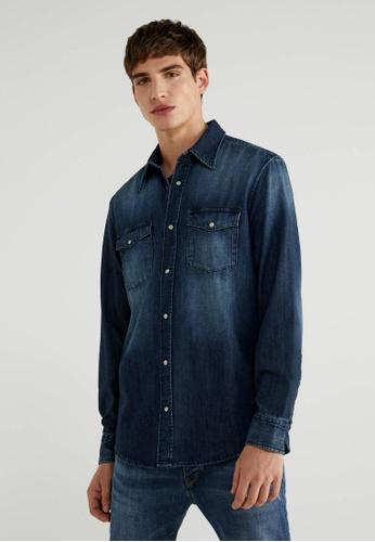 United Colors of Benetton blue Regular Fit Denim Shirt 00EDAAA85869F7GS_1