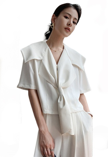 Sunnydaysweety white Short Sleeve Sailor Collar Top A21031913W 69B17AAC14140BGS_1