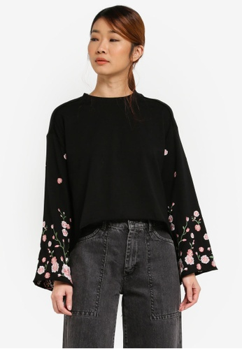 Something Borrowed black Oversized Embroidery Sleeve Top F82A1AABA89D52GS_1