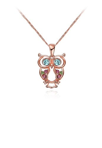 Glamorousky multi Fashion Plated Rose Gold Owl Pendant with Austrian Element Crystal and Necklace 7C979AC314998DGS_1