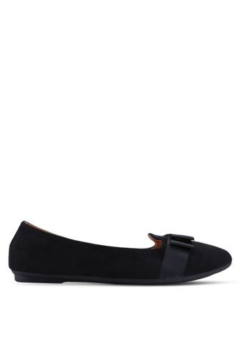 Noveni black Round Toe Flats With Bow 73022SH8165702GS_1
