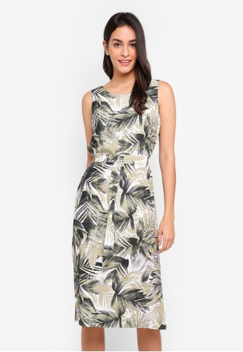 07a710e022829 Wallis brown Stone Palm Print Midi Fit And Flare Dress DC00FAAABBC78DGS 1