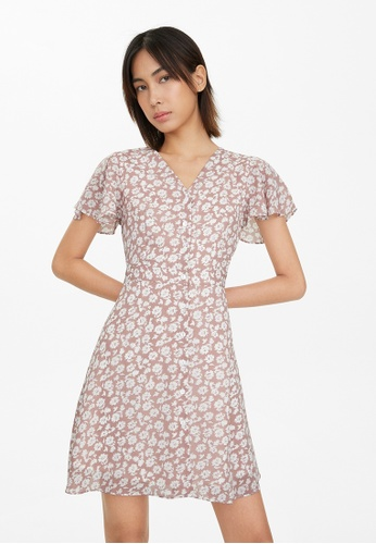 Pomelo pink Button Up Flounce Sleeve Dress - Pink 50D8AAA8892A2AGS_1