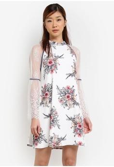 【ZALORA】 新年系列 蕾絲碎花透視洋裝