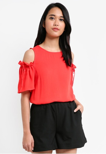 Pieces red Nynne Short Sleeve Top 5DA98AAC0ACB71GS_1