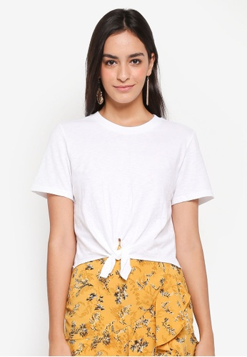 TOPSHOP white Knot Front T-Shirt 83778AA65CC098GS_1
