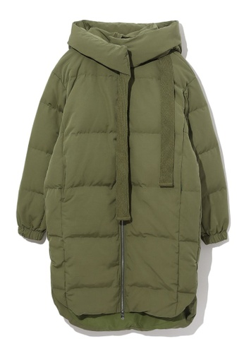 GREENISHPINK green Drawstring down jacket. 03BC4AA37FCAEBGS_1