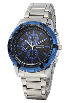 Newyork Army Men's Blue Bezel Stainless Strap Black Dial Watch NYA2658