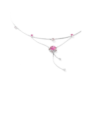 Glamorousky pink Flower Anklet with Pink Austrian Element Crystals 701EDAC754A3C0GS_1