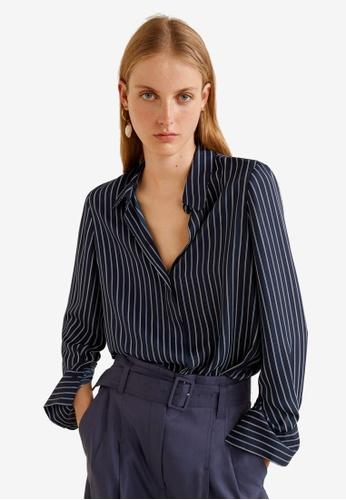 Mango blue Flowy Shirt 7F874AAA5DF294GS_1