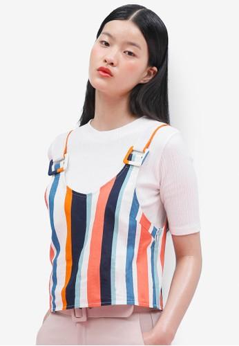 韓式風格簡約羅紋短袖上衣, 服飾esprit tst, 上衣