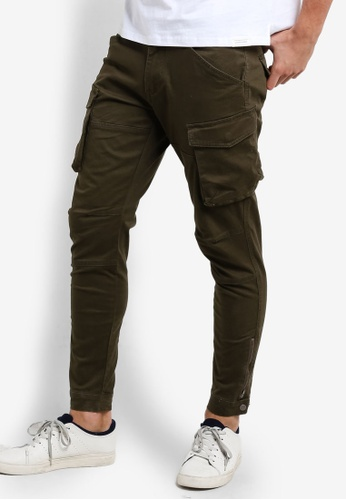 SPARROW GREEN green Uma Cargo Zippcuff Jogger Pants SP065AA03LKEMY_1