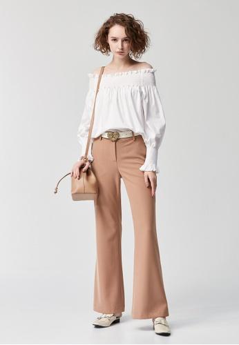 iROO beige Wide Legged Trousers B2BA9AA27E40DEGS_1