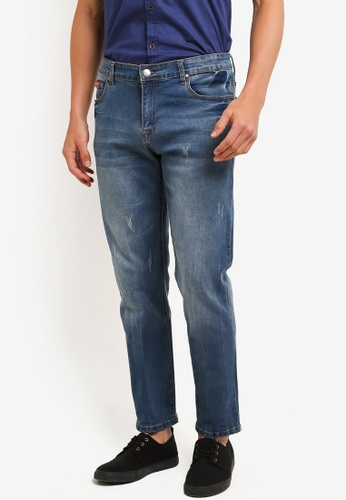Fidelio 藍色 518 Slim Fit Stretchable Washed Denim Jeans FI826AA0RLXDMY_1