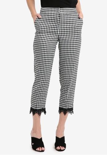 Miss Selfridge black Gingham Cigarette Trousers C4580AAB4C799EGS_1