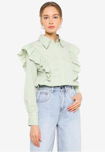URBAN REVIVO green Ruffle Shoulder Shirt 7E3DEAAB797DA9GS_1
