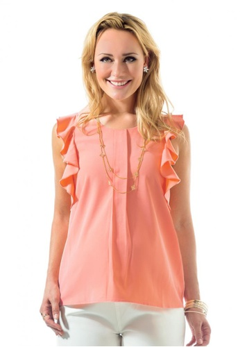 Bove by Spring Maternity pink Woven Short Sleeve Cecile Frill Top (ITN8101) BO010AA34NVXSG_1